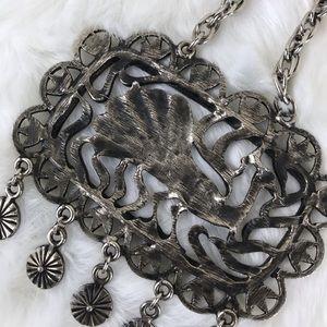 Vintage Jewelry - Vintage l Pewter Peacock Boho Statement Necklace